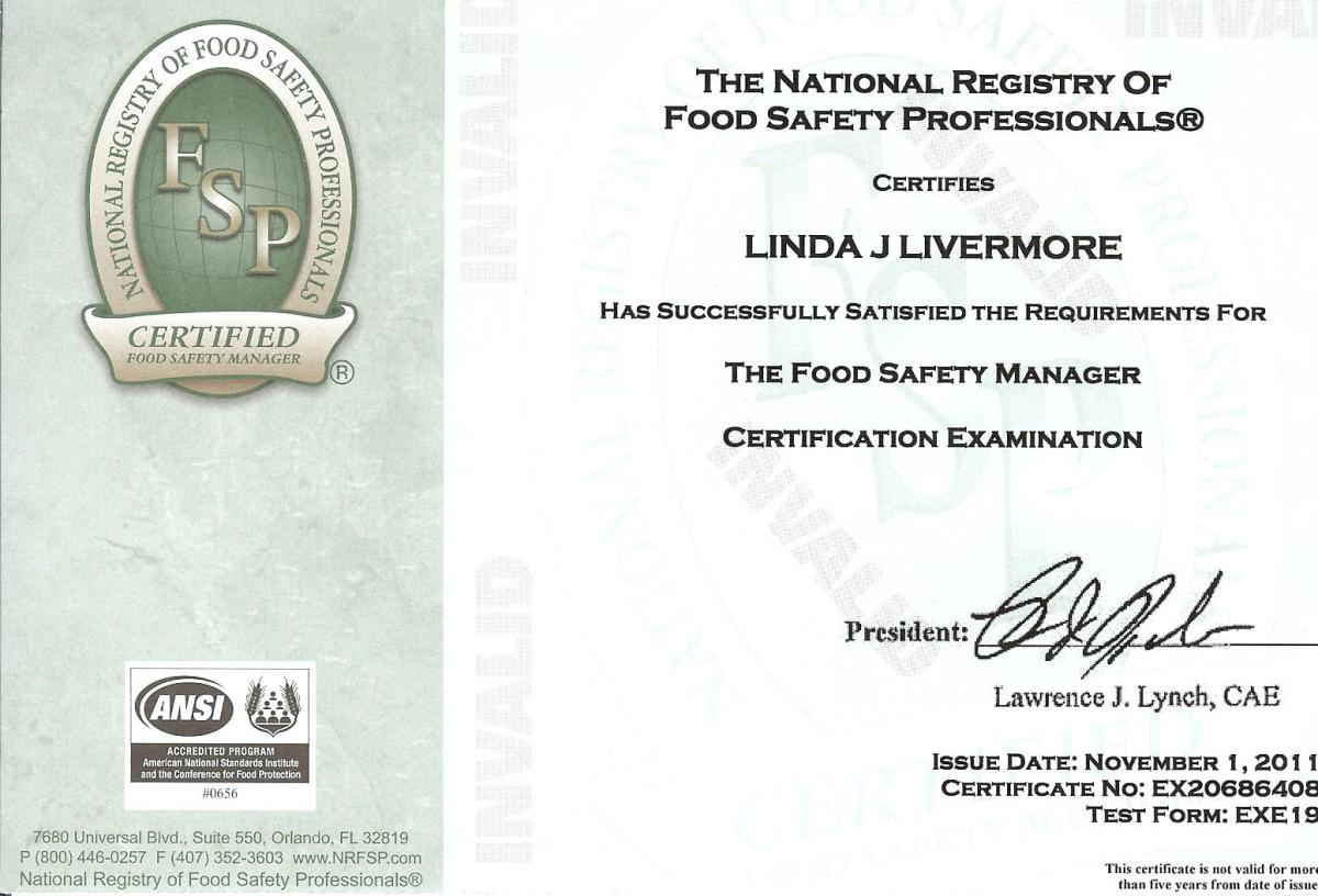 Food Safety Certification Certificate The Fairy Foodmother